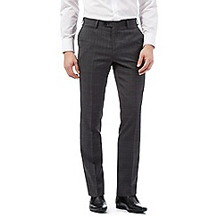 Jeff Banks - Big and tall dark grey slim fit pow check trousers