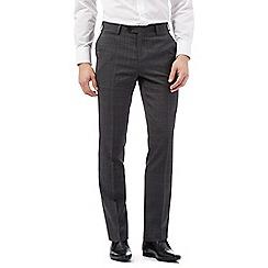 Jeff Banks - Dark grey slim fit pow check trousers