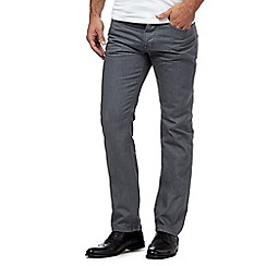 Jeff Banks - Big and tall grey raw button fly straight leg jeans
