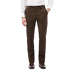 Jeff Banks - Big and tall brown pow slim fit check trousers