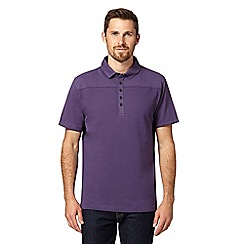 Jeff Banks - Big and tall designer purple pique front polo shirt