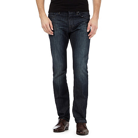 Jeff Banks - Big and tall designer dark blue straight leg jeans