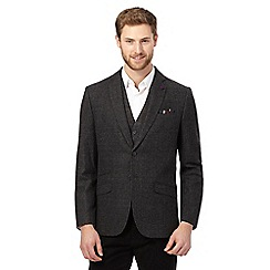 Jeff Banks - Big and tall grey mini check blazer