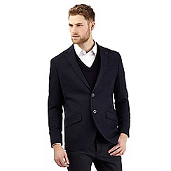 Jeff Banks - Big and tall navy wool blend two tone blazer