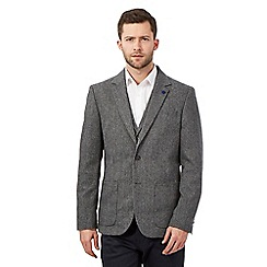 Jeff Banks - Big and tall grey textured single breasted jacket