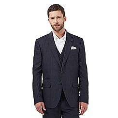 Jeff Banks - Big and tall navy linen single breast jacket
