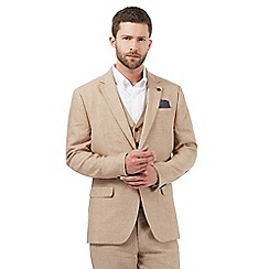 Jeff Banks - Big and tall beige linen single breasted jacket