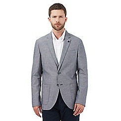Jeff Banks - Big and tall navy textured linen blend blazer