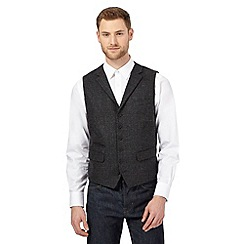 Jeff Banks - Big and tall grey wool-blend mini-check waistcoat