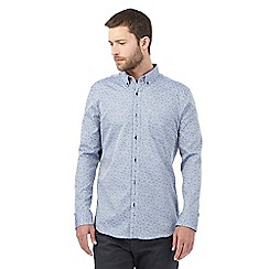 Jeff Banks - Big and tall blue vintage jacquard shirt