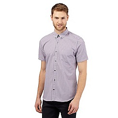 Jeff Banks - Big and tall purple short sleeved gingham shirt