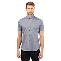 Jeff Banks - Big and tall blue short sleeved jacquard shirt