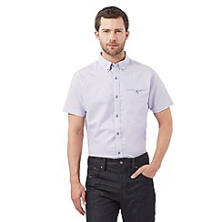 Jeff Banks - Big and tall lilac short sleeved linen shirt