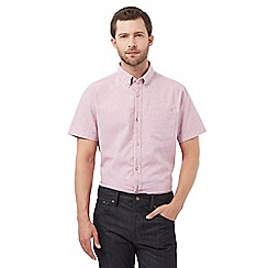 Jeff Banks - Big and tall pink linen textured shirt