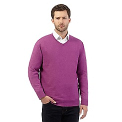Jeff Banks - Big and tall dark pink V neck jumper