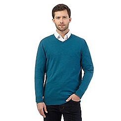 Jeff Banks - Big and tall turquoise V neck jumper