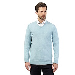 Jeff Banks - Big and tall light blue V neck jumper