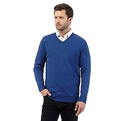 Jeff Banks - Big and tall mid blue V neck jumper