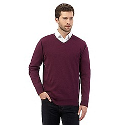 Jeff Banks - Big and tall dark purple V neck jumper