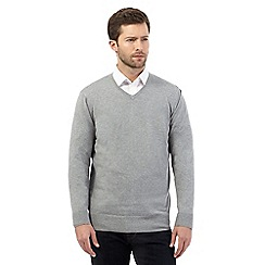 Jeff Banks - Big and tall light grey V neck jumper