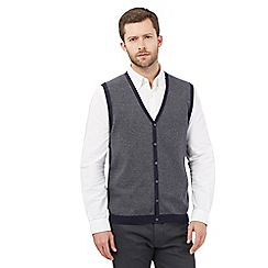 Jeff Banks - Big and tall navy cotton waistcoat sweater