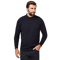 Jeff Banks - Big and tall navy knitted polo sweater