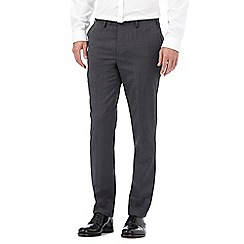 Jeff Banks - Big and tall grey wool-blend pin dot slim trousers