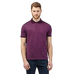 Jeff Banks - Big and tall dark purple textured polo shirt