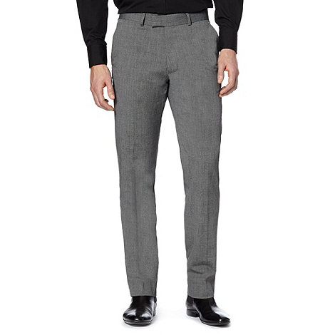 Jeff Banks - Big and tall dark grey smart pindot slim leg trousers