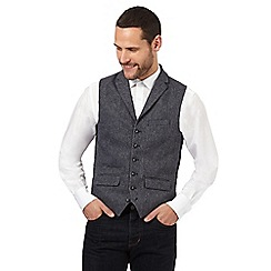 Jeff Banks - Big and tall blue textured wool waistcoat