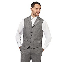 Jeff Banks - Big and tall grey textured wool waistcoat