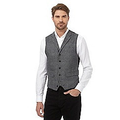 Jeff Banks - Big and tall grey wool blend checked waistcoat