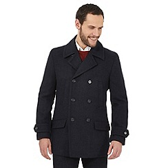 Jeff Banks - Big and tall navy wool-blend peacoat