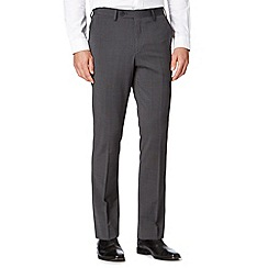 Jeff Banks - Big and tall grey pindot slim fit wool blend trousers