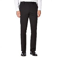 Jeff Banks - Big and tall black herringbone slim fit wool blend trousers