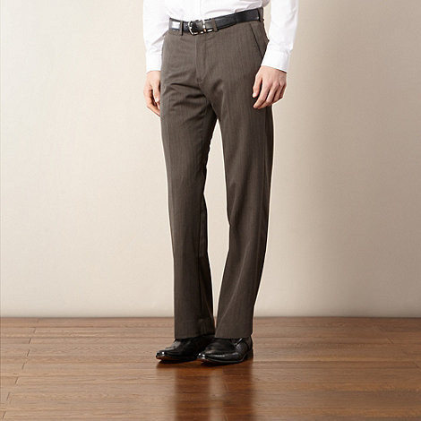 Jeff Banks - Designer brown marl flat front trousers