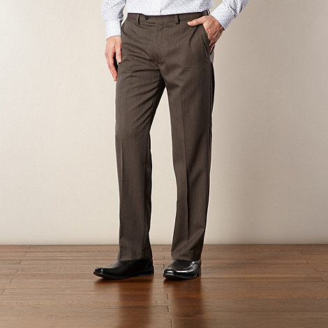 Jeff Banks - Big and tall taupe marled woven trousers
