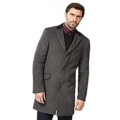 Jeff Banks - Big and tall dark grey wool blend epsom coat