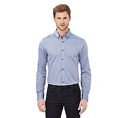 Jeff Banks - Big and tall blue diamond jacquard tailored fit shirt