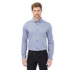 Jeff Banks - Blue diamond jacquard tailored fit shirt