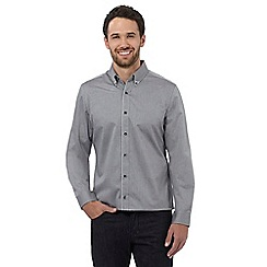 Jeff Banks - Big and tall grey long sleeved jacquard shirt