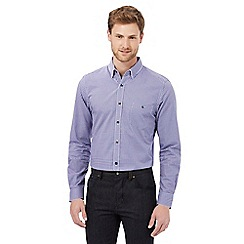 Jeff Banks - Big and tall purple dobby gingham checked print tailored fit shirt