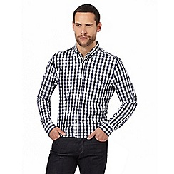 Jeff Banks - Big and tall navy dobby textured gingham shirt