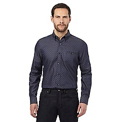 Jeff Banks - Navy dobby textured tailored fit shirt