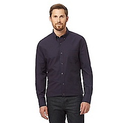 Jeff Banks - Big and tall navy mini dobby spot tailored fit shirt