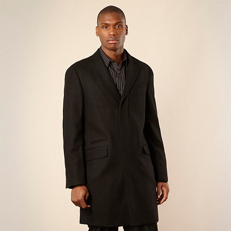Jeff Banks - Designer black wool rich overcoat