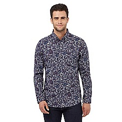 Jeff Banks - Big and tall navy damask print regular fit shirt