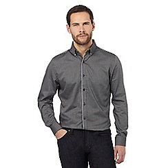 Jeff Banks - Big and tall dark grey jacquard tailored fit shirt