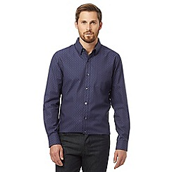Jeff Banks - Big and tall dark purple tonic geometric square tailored fit shirt