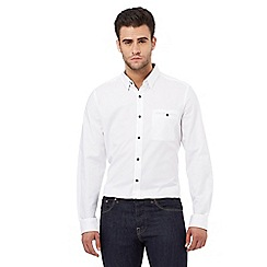 Jeff Banks - Big and tall white dobby textured regular fit shirt